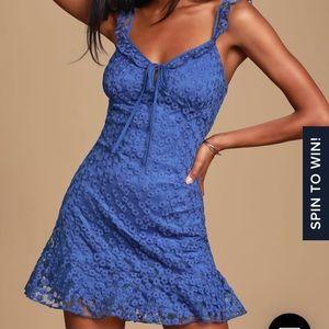 Lulu's royal blue embroidered mini dress